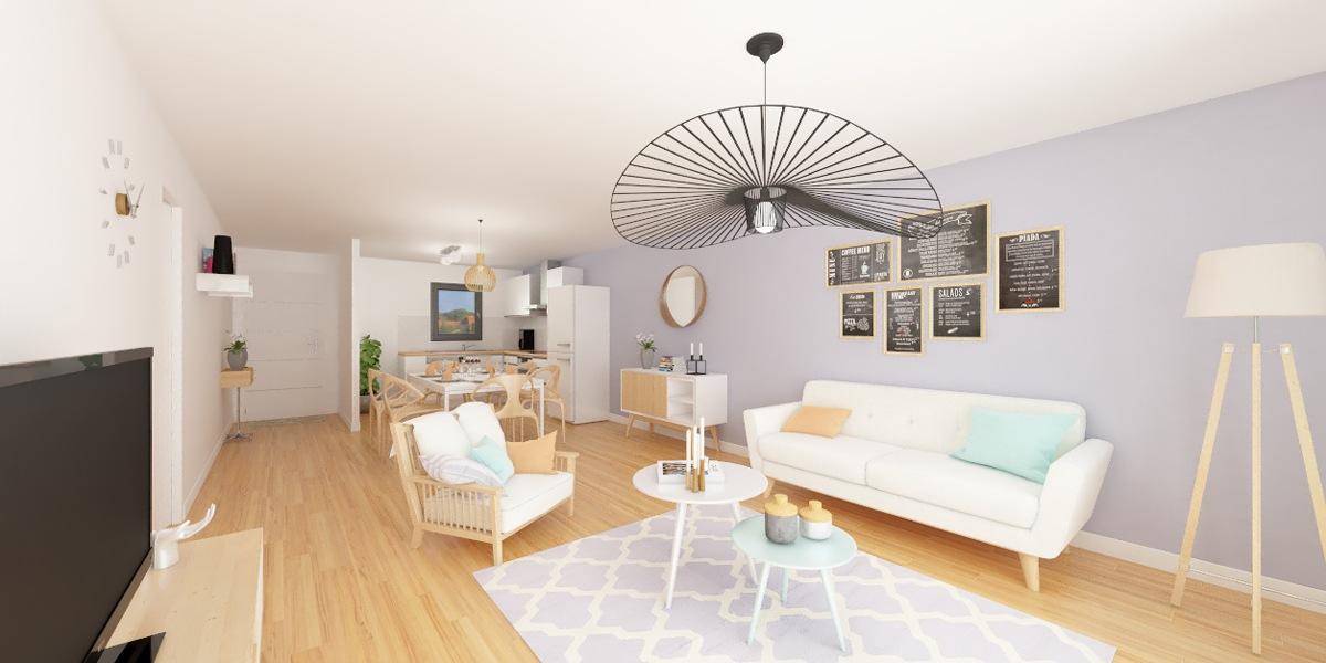 image intérieur 3D maison plain pied