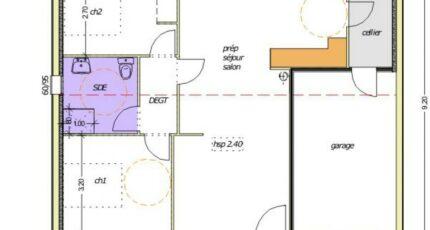 Avant-projet L'HERMENAULT - 70 m² - 2 chambres 2486-255377_premevere-nh-garage-a-droite-2-chambres.jpg - LMP Constructeur