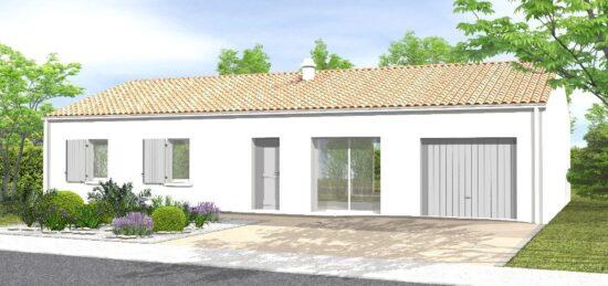 Plan de maison Surface terrain 70 m2 - 4 pièces - 4  chambres -  avec garage