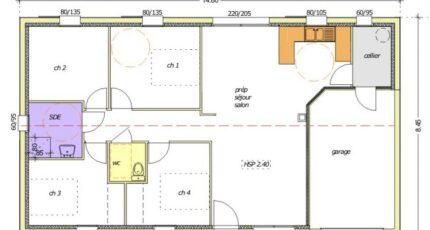 Avant projet NIORT  89 m² - 4 chambres 2484-255369_premevere-nh-garage-a-droite-4-chambres.jpg - LMP Constructeur