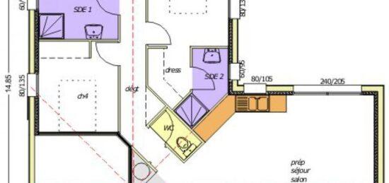 Plan de maison Surface terrain 90 m2 - 5 pièces - 4  chambres -  avec garage
