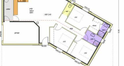 Avant-Projet LES SORINIÈRES - 85 m² - 3 chambres 2472-255218_3-chambres-garage-integre-pignon-g.jpg - LMP Constructeur