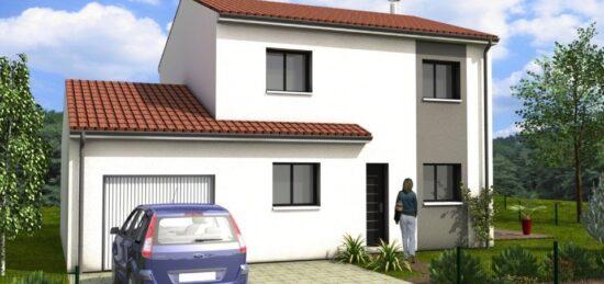Plan de maison Surface terrain 100 m2 - 5 pièces - 3  chambres -  avec garage