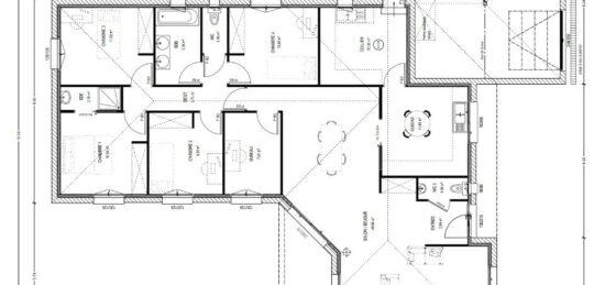 Plan de maison Surface terrain 130 m2 - 5 pièces - 4  chambres -  sans garage