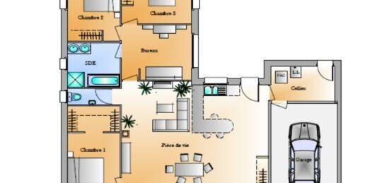 Plan de maison Surface terrain 103 m2 - 5 pièces - 3  chambres -  sans garage