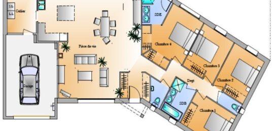 Plan de maison Surface terrain 136 m2 - 5 pièces - 4  chambres -  avec garage