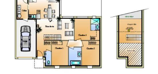 Plan de maison Surface terrain 96 m2 - 5 pièces - 3  chambres -  avec garage