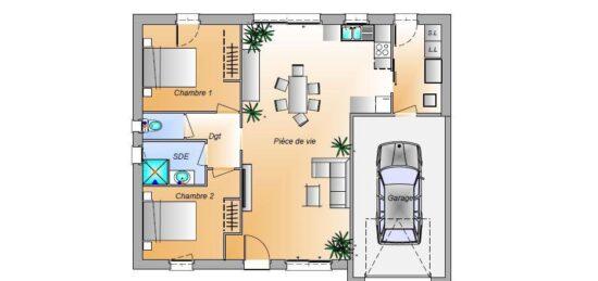 Plan de maison Surface terrain 72 m2 - 4 pièces - 2  chambres -  avec garage