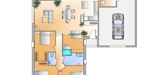 Plan de maison Surface terrain 104 m2 - 5 pièces - 3  chambres -  avec garage