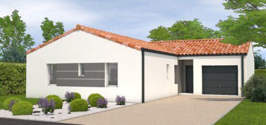 Plan de maison Surface terrain 107 m2 - 5 pièces - 4  chambres -  avec garage