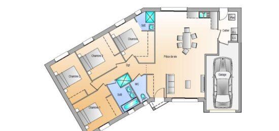 Plan de maison Surface terrain 105 m2 - 5 pièces - 4  chambres -  avec garage
