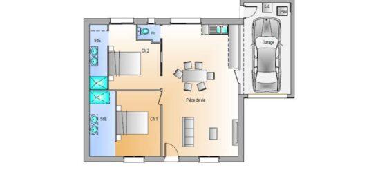 Plan de maison Surface terrain 71 m2 - 3 pièces - 2  chambres -  avec garage