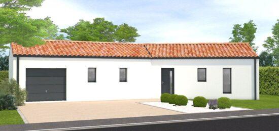 Plan de maison Surface terrain 70 m2 - 4 pièces - 2  chambres -  avec garage