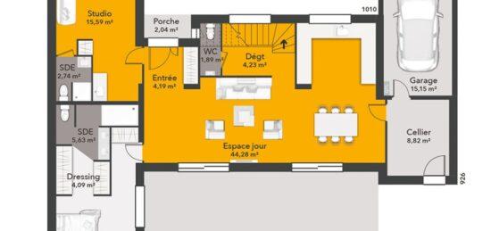 Plan de maison Surface terrain 120 m2 - 8 pièces - 5  chambres -  avec garage